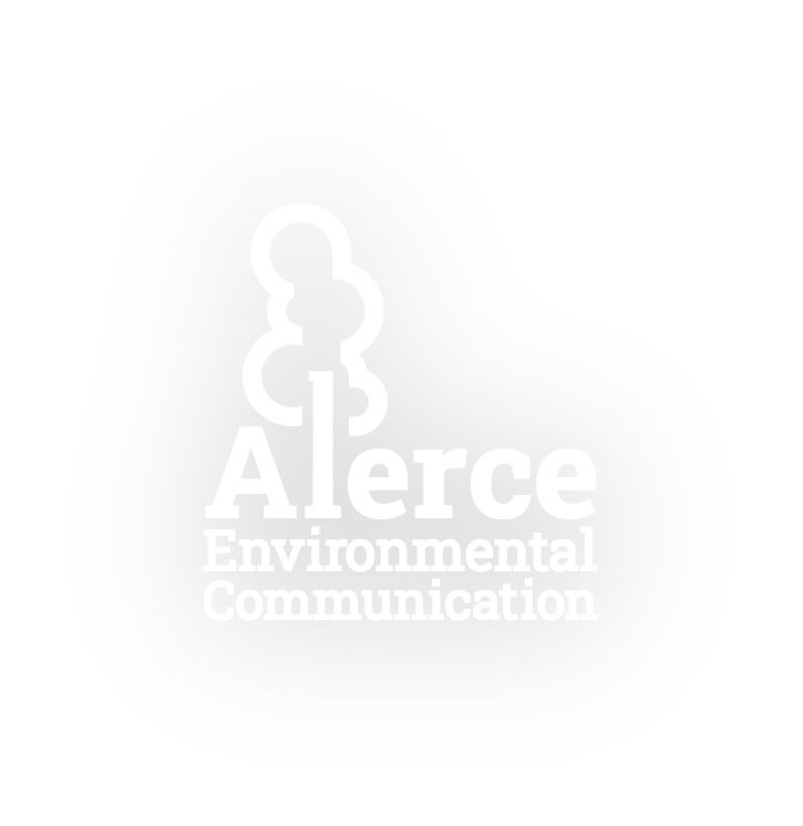 Image Description. Alerce Environmental white logo on transparent background.