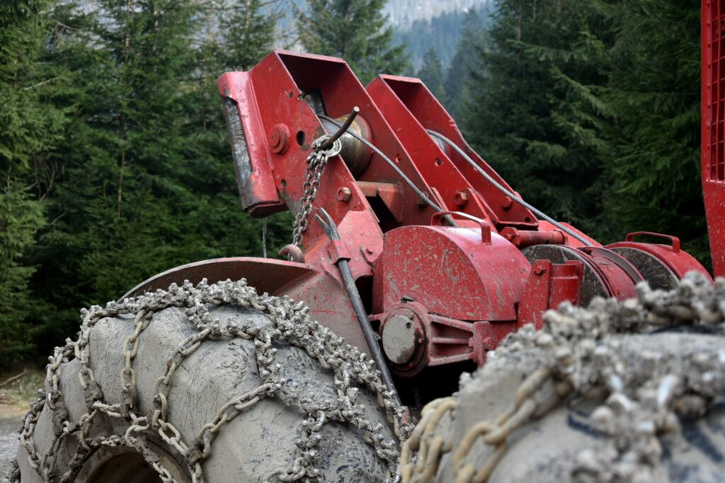 image description. Heavy machinery for felling forests and processing timber.