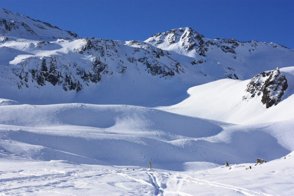 image description. skiing tracks in the backcountry