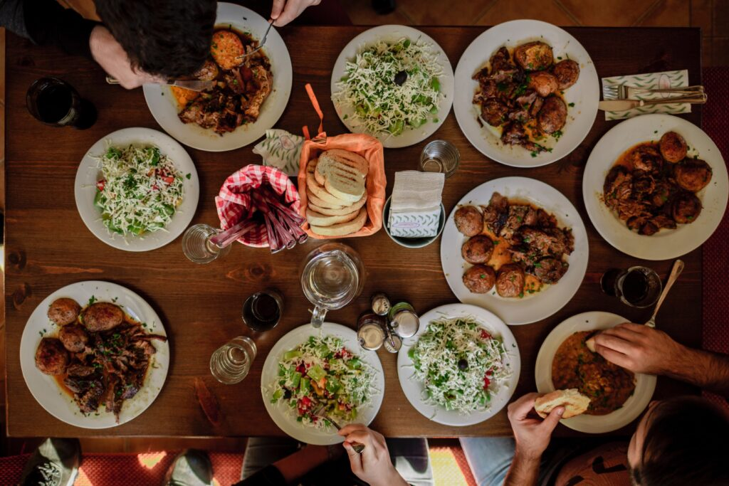 Big feast of traditional Bulgarian food in the Bulgarian Rhodope Mountains.