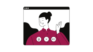An illustration of a person, who is doing a public science outreach online.